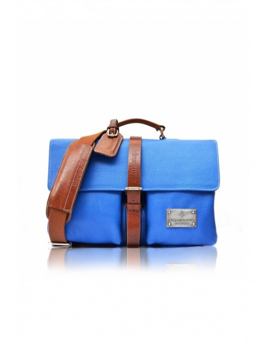 SIGNATURE ALTER BLUE HANDMADE 100% GENUINE LEATHER BAG - Double Red