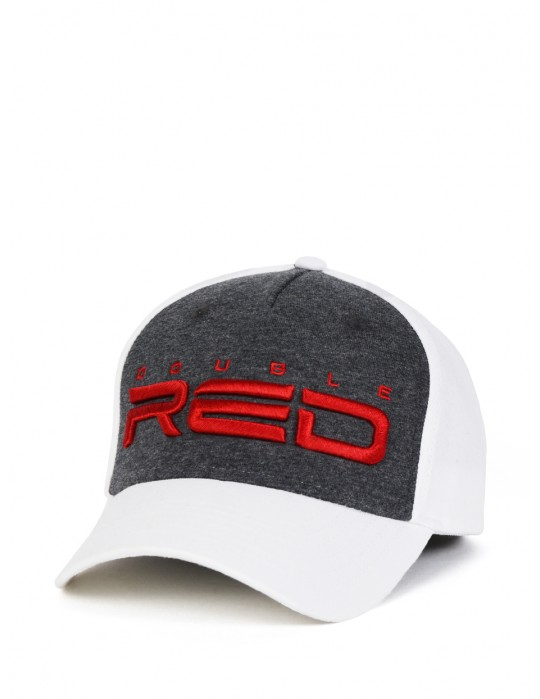 JERSEY DOUBLE RED 3D Embroidery Cap Gray/White