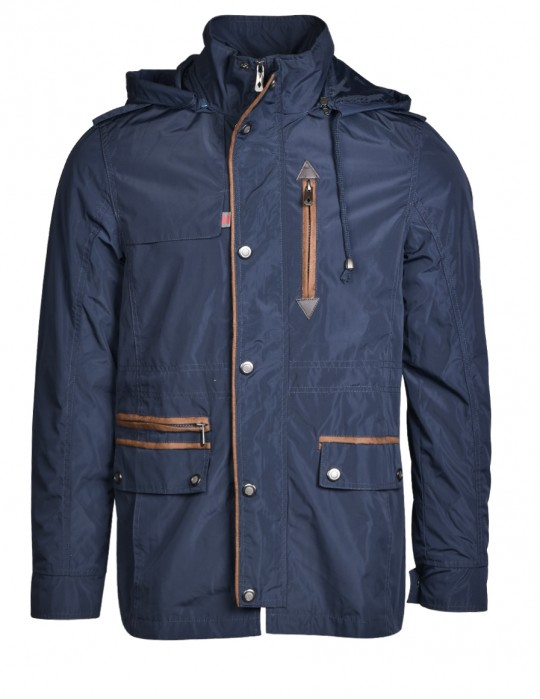 DR M Lightweight Hooded Parka Blue